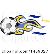 Clipart Of A Soccer Ball With Bosnian Flag Flames Royalty Free Vector Illustration