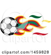 Poster, Art Print Of Soccer Ball With Cameroonian Flag Flames