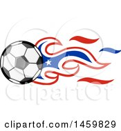 Clipart Of A Soccer Ball With Chilean Flag Flames Royalty Free Vector Illustration