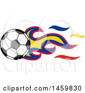 Poster, Art Print Of Soccer Ball With Colombian Flag Flames