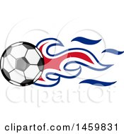 Clipart Of A Soccer Ball With Costa Rican Flag Flames Royalty Free Vector Illustration