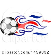 Poster, Art Print Of Soccer Ball With Croatian Flag Flames