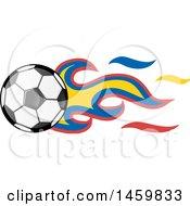 Clipart Of A Soccer Ball With Ecuadorian Flag Flames Royalty Free Vector Illustration