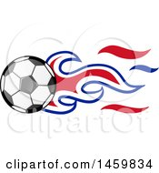 Clipart Of A Soccer Ball With English Flag Flames Royalty Free Vector Illustration