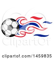 Clipart Of A Soccer Ball With French Flag Flames Royalty Free Vector Illustration by Domenico Condello