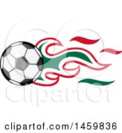 Clipart Of A Soccer Ball With Mexican Flag Flames Royalty Free Vector Illustration