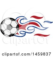 Clipart Of A Soccer Ball With Dutch Flag Flames Royalty Free Vector Illustration
