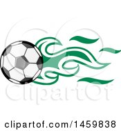 Poster, Art Print Of Soccer Ball With Nigerian Flag Flames