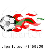 Clipart Of A Soccer Ball With Portuguese Flag Flames Royalty Free Vector Illustration