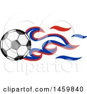 Poster, Art Print Of Soccer Ball With Russian Flag Flames