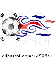 Poster, Art Print Of Soccer Ball With South Korean Flag Flames