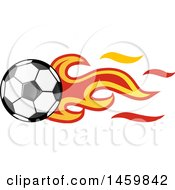 Poster, Art Print Of Soccer Ball With Spanish Flag Flames