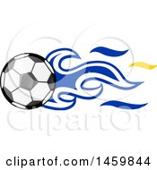Poster, Art Print Of Soccer Ball With Uruguayan Flag Flames