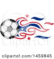 Poster, Art Print Of Soccer Ball With American Flag Flames