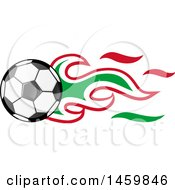 Poster, Art Print Of Soccer Ball With Italian Flag Flames