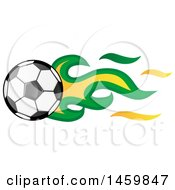 Poster, Art Print Of Soccer Ball With Brazilian Flag Flames