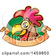 Clipart Of A Chicken Mascot Over Green And A Ribbon Banner Royalty Free Vector Illustration
