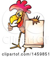 Chicken Mascot Holding A Blank Sign And Giving A Thumb Up