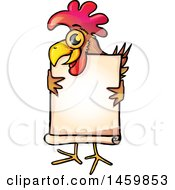 Chicken Mascot Holding A Blank Sign