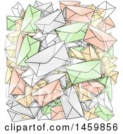 Clipart Of A Background Of Envelopes Royalty Free Vector Illustration