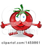 Clipart Of A Cartoon Tomato Mascot Giving Two Thumbs Up Royalty Free Vector Illustration by Domenico Condello