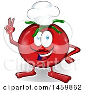 Clipart Of A Cartoon Tomato Mascot Chef Royalty Free Vector Illustration by Domenico Condello