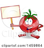 Clipart Of A Cartoon Tomato Mascot Holding A Blank Sign Royalty Free Vector Illustration