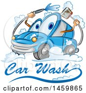 Blue Automobile Mascot Washing Itself Over Car Wash Text