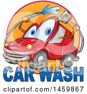 Clipart Of A Red Automobile Mascot Washing Itself Over Car Wash Text Royalty Free Vector Illustration by Domenico Condello