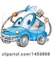 Blue Automobile Mascot Washing Itself