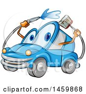 Clipart Of A Blue Automobile Mascot Washing Itself Royalty Free Vector Illustration