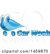 Clipart Of A Car Wash Water Drop Mascot And Text Design Royalty Free Vector Illustration