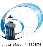 Clipart Of A Blue Lighthouse And Spiraling Beacon Royalty Free Vector Illustration