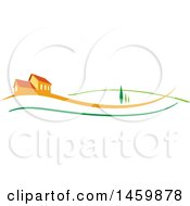 Clipart Of An Orange House With Trees And Swooshes Royalty Free Vector Illustration by Domenico Condello