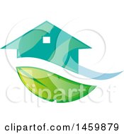 Clipart Of A Turquoise House And Leaf Swoosh Royalty Free Vector Illustration