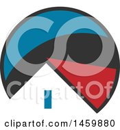 Clipart Of A House Roof Top In A Gray Blue And Red Circle Royalty Free Vector Illustration by Domenico Condello