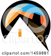 Clipart Of A House In A Black Blue And Orange Circle Royalty Free Vector Illustration