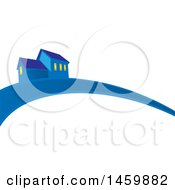Clipart Of A Blue House And Swoosh Royalty Free Vector Illustration