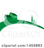Clipart Of A Green House And Swoosh Royalty Free Vector Illustration