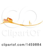 Clipart Of An Orange House And Swoosh Royalty Free Vector Illustration by Domenico Condello