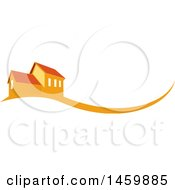 Clipart Of An Orange House And Swoosh Royalty Free Vector Illustration
