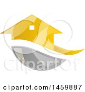Clipart Of A Golden House And Gray Swoosh Royalty Free Vector Illustration