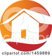 Clipart Of A House In A Red And Orange Circle Royalty Free Vector Illustration