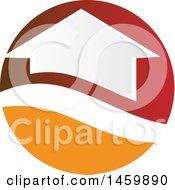 Clipart Of A House In A Red And Orange Circle Royalty Free Vector Illustration by Domenico Condello