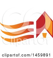 Clipart Of A Gradient Red And Orange House Royalty Free Vector Illustration by Domenico Condello