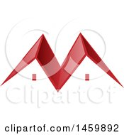 Clipart Of A Red Roof Top Of A House Royalty Free Vector Illustration by Domenico Condello