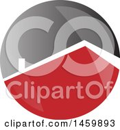 Clipart Of A Red Roof Top Of A House In A White And Gray Circle Royalty Free Vector Illustration