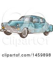 Poster, Art Print Of Sketched Blue Vintage Car