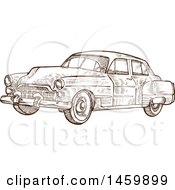 Clipart Of A Sketched Brown And White Vintage Car Royalty Free Vector Illustration by Domenico Condello