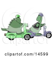 Green Dinosaur Wearing A Vest And Helmet And Riding A Scooter Looking Back Over His Shoulder While Passing Another Scooter Riding Dino